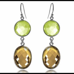 Peridot And Citrine Double Drop Earrings
